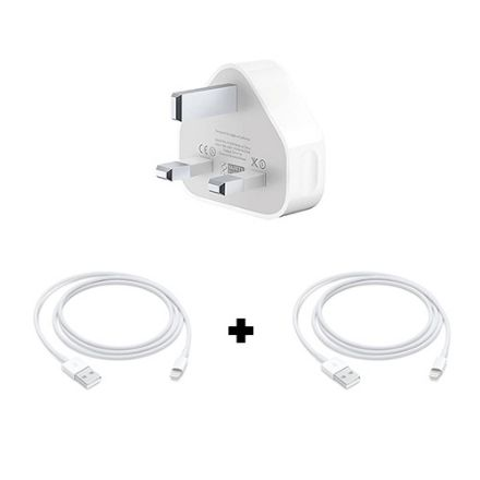 Picture of Apple iPhone/iPod Power Charging Adapter and 2 USB Lightning Cables