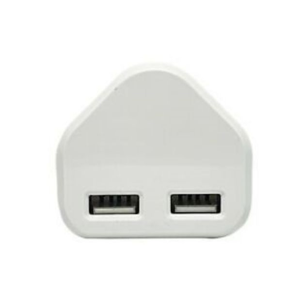 Picture of Speedy Dual 2 Port USB Charger USB 3 Pin UK Mains Wall Plug Adapter 2.1A