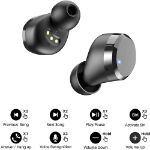 Picture of ALPHA T12 Wireless Earbuds Bluetooth Headphones Premium Fidelity Sound Quality Wireless Charging Case Digital LED Intelligence Display IPX8 Waterproof Earphones Built-in Mic Headset for Sport Black